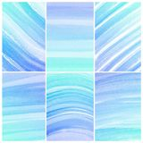 Предпосылка акварели. Комплект цветастого голубого абстрактного цвета воды Стоковое Изображение
