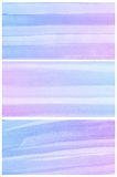 Предпосылка акварели. Комплект цветастого голубого фиолетового абстрактного цвета воды Стоковое Изображение