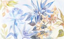 Предпосылка акварели с голубыми и желтыми цветками (пионом, orch Стоковое Изображение RF