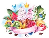 Предпосылка акварели с мягким итальянским мороженым Стоковое Изображение RF