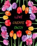 Предпосылка акварели флористическая live создайтесь насладитесь Мотивационное высказывание иллюстрация вектора