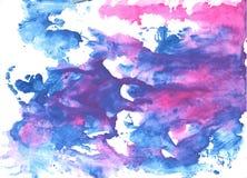 Предпосылка акварели Хана голубая абстрактная Стоковое Фото