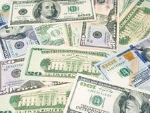 Предпосылка американских счетов долларов Различные USD примечаний доллара Стоковые Фотографии RF