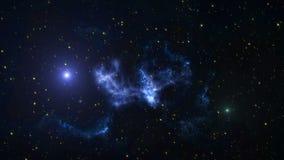 Предпосылка анимации космоса с межзвёздным облаком, звездами Млечный путь, галактика и межзвёздное облако иллюстрация штока