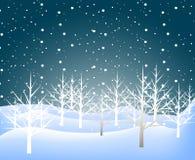 Предпосылка ландшафта зимы праздника с деревом Стоковые Изображения RF
