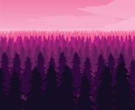 Предпосылка ландшафта с глубоким лесом ели Стоковое фото RF