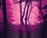 Предпосылка ландшафта с глубоким лесом Стоковые Изображения RF