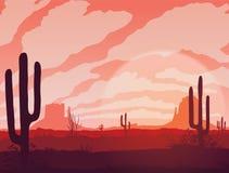 Предпосылка ландшафта с пустыней и кактусом Стоковые Изображения