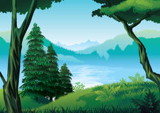 Предпосылка ландшафта с рекой, лесом и горами Стоковое Изображение RF