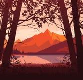 Предпосылка ландшафта с рекой и горами Стоковые Изображения RF