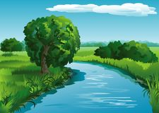 Предпосылка ландшафта с рекой Стоковые Изображения RF