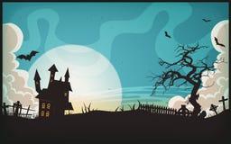 Предпосылка ландшафта хеллоуина иллюстрация штока