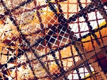 Предпосылка апельсина, коричневых и белых абстрактная фрактали с хаотическими изрезанными сетями Стоковые Фотографии RF