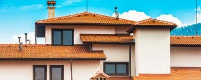 Предпосылка архитектуры дома крупного плана внешняя панорамная Стоковые Фото