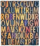 Предпосылка алфавита letterpress Grunge Стоковая Фотография