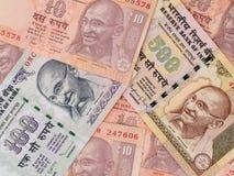Предпосылка банкнот индийской рупии, крупный план денег Индии Стоковые Изображения