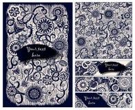 Предпосылка батика Пейсли Этнические карточки doodle Стоковое фото RF