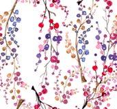 Предпосылка безшовной акварели флористическая Стоковая Фотография