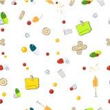 Предпосылка безшовной картины прозрачная с медицинскими инструментами шаржа Стоковая Фотография
