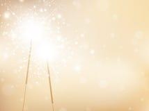 Предпосылка бенгальских огней праздника золотая Стоковые Изображения RF