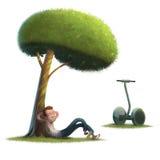 Предпосылка белизны иллюстрации лужайки людей segway Стоковые Изображения RF