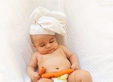 Предпосылка белизны кашевара шеф-повара младенца Стоковая Фотография RF