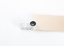 Предпосылка белизны мобильного телефона макроса Fisheye установленная Стоковое Изображение