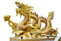 Предпосылка белизны дракона золота Стоковое Фото