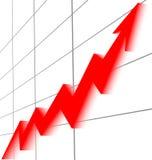 Предпосылка белизны решетки черноты диаграммы красной стрелки поднимая графическая Стоковая Фотография