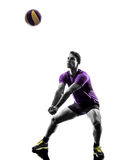 Предпосылка белизны силуэта человека игрока шарика залпа Стоковое фото RF