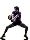 Предпосылка белизны силуэта человека игрока шарика залпа Стоковая Фотография RF
