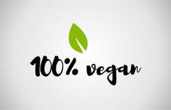 предпосылка 100% белизны текста зеленых лист vegan рукописная Стоковые Изображения RF