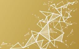 Предпосылка белого золота с соединяясь точками и линиями Стоковое Изображение