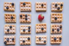 Предпосылка бельгийских waffles с клубникой и голубиками дальше Стоковая Фотография RF