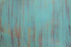Предпосылка бирюзы деревянная - покрашенные деревянные планки для стены или пола таблицы стола Стоковые Изображения RF