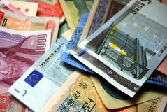 Предпосылка бумажных денег иностранной валюты Стоковое Фото
