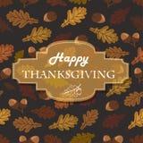 Предпосылка благодарения с жолудями, листьями и надписью в середине Стоковая Фотография RF
