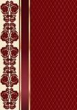 Предпосылка валентинки красного вина с цветочным узором и лентой Стоковые Изображения RF
