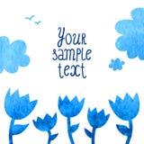 Предпосылка вектора акварели с голубыми цветками Стоковая Фотография RF