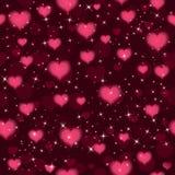Предпосылка вектора безшовная с сердцами и sparkles вектор Стоковая Фотография RF