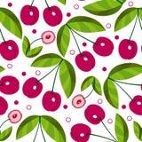 Предпосылка вектора безшовная с сладостными вишнями Стоковое Изображение