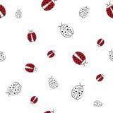 Предпосылка вектора безшовная с ladybirds Стоковое Изображение RF