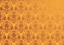 Предпосылка вектора винтажная флористическая в золоте Стоковое Изображение RF