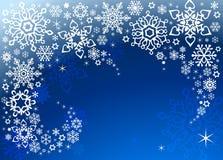 Предпосылка вектора голубая с белыми снежинками Стоковое Изображение RF