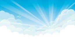 Предпосылка вектора - голубое небо с белыми облаками и восходом солнца Стоковые Изображения RF