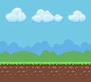 Предпосылка вектора игры пиксела 8bit с панорамой земли и облачного неба Стоковая Фотография RF