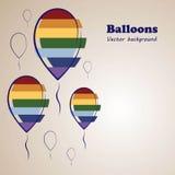Предпосылка вектора красочных воздушных шаров Стоковое Фото