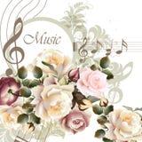 Предпосылка вектора музыки с розами для дизайна Стоковое Изображение RF