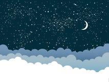 Предпосылка вектора Облака небо звёздное 10 eps Стоковая Фотография