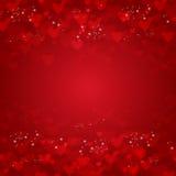 Предпосылка вектора от красных сердец Стоковое Изображение RF
